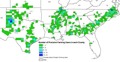 2013 Southern Cotton Farm Survey study region and precision farming users by county. Precision farming users were defined if they responded to the survey and indicated using one or more of the following: precision farming in general, information gathering (IG), global positioning system-guidance (GPSG), variable rate application (VRA), or automatic section control technologies (ASC).