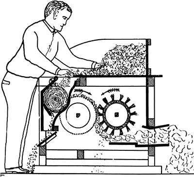 Hodgen Holmes' Cotton Gin – With improvements over Eli Whitney's cotton gin (patented in 1794), Holmes' gin allowed for continuous operation, used saws versus wooden spikes that increased durability, and used a slotted bar instead of flat-iron ribs. Patented in 1796, Holmes' gin may actually predate Whitney's with a caveat of invention dated 1789 (Figure taken from Saw and Toothed Cotton Ginning Developments by Charles A. Bennett).